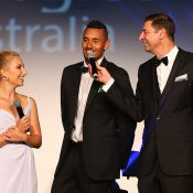 Nick Kyrgios (centre) and Daria Gavrilova (left) at the Hopman Cup New Year's Eve Gala in Perth; Getty Images