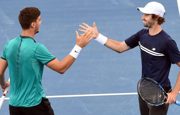 Australia's Thanasi Kokkinakis and Jordan Thompson celebrate their semi-final win