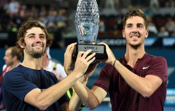 Australia's Thanasi Kokkinakis (right) and Jordan Thompson with their Brisbane International trophy.