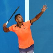 Nick Kyrgios in action against Feliciano Lopez at Hopman Cup 2017 in Perth; Getty Images