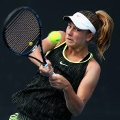 Ellen Perez in action during the Australian Open first round of qualifying.