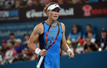 Sam Stosur in action during her first-round loss to Garbine Muguruza at the Brisbane International; Getty Images