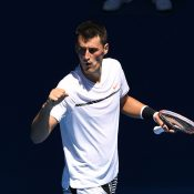 Bernard Tomic celebrates his progression to the second round of Australian Open 2017; Getty Images