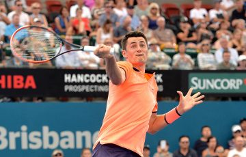 Bernard Tomic in action during his first-round loss to David Ferrer at the Brisbane International; Getty Images