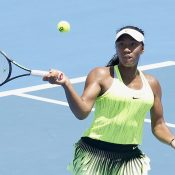Destanee Aiava of Australia plays a forehand at the Kooyong Classic.