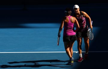 Ashleigh Barty and Casey Dellacqua in Women's Doubles action.