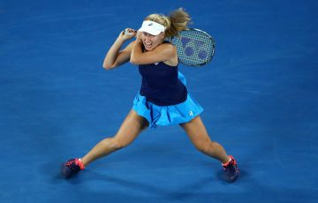 Daria Gavrilova in action on Rod Laver Arena.