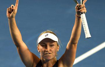 Australia's Daria Gavrilova celebrates her victory against Ana Konjuh.