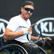 Dylan Alcott of Australia celebrates at Melbourne Park