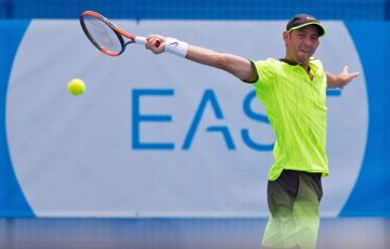 Dudi Sela (ISR) in action during day seven of the East Hotel Canberra Challenger. Match was played at the Canberra Tennis Centre in Lyneham, Canberra, ACT on Friday 13 January 2017 #eastCBRCH #TennisACT. Photo: Ben Southall.