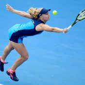 Daria Gavrilova reaches for a backhand during her Apia International Sydney match against Johanna Konta