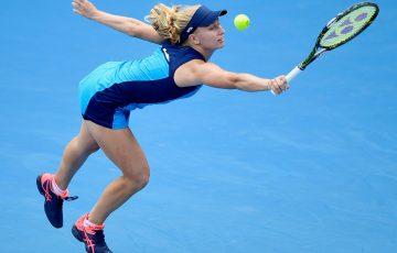 Daria Gavrilova reaches for a backhand during her Apia International Sydney match against Johanna Konta
