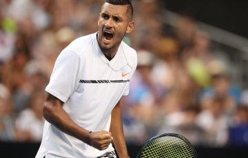 Nick Kyrgios celebrates during his first round triumph at Australian Open 2017.
