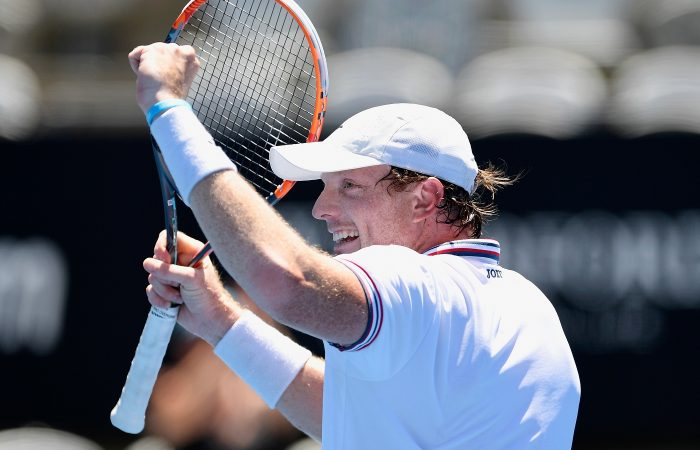 Matthew Barton of Australia celebrates victory in the Apia International Sydney first round