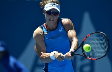 Sam Stosur hits a backhand during the first round at Apia International Sydney