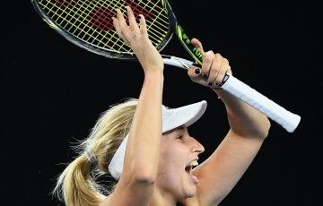 Daria Gavrilova of Australia celebrates winning her third round match against Timea Bacsinszky.