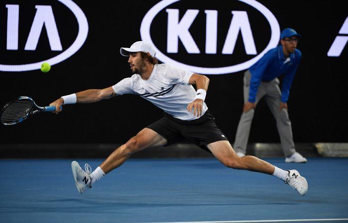 Australia's Jordan Thompson in action against Dominic Thiem.
