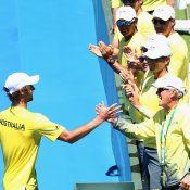 Jordan Thompson celebrates with the Aussie team. Photo: Getty Images