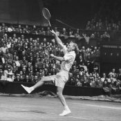 John Bromwich, seen competing at Wimbledon in 1948; Getty Images