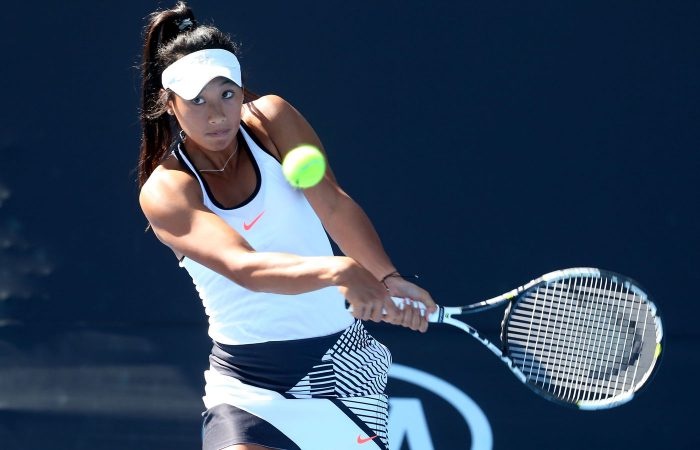 MELBOURNE, AUSTRALIA - JANUARY 18:  Priscilla Hon of Australia plays a shot in her first round doubles match against Samantha Stosur of Australia and Shuai Zhang of China on day three of the 2017 Australian Open at Melbourne Park on January 18, 2017 in Melbourne, Australia.  (Photo by Pat Scala/Getty Images)