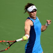 Sam Stosur in action during her first-round victory in Dubai; Getty Images