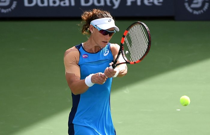 Sam Stosur in action at the Dubai Duty Free Tennis Championships; Getty Images