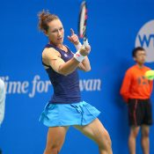 Sam Stosur in action during her first-round victory over Danka Kovinic at the WTA Taiwan Open; photo credit 2017 Taiwan Open