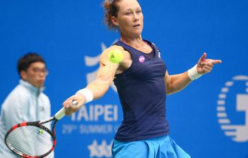 Sam Stosur in action at the WTA Taiwan Open; photo credit 2017 Taiwan Open