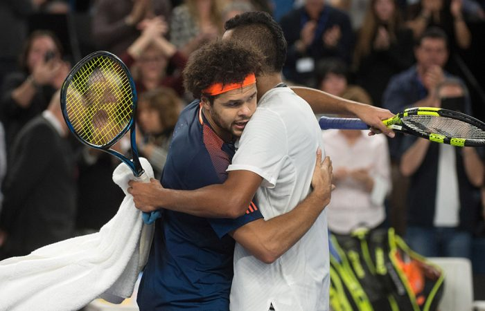 Nick Kyrgios (R) and Jo-Wilfried Tsonga embrace after their semifinal match in Marseille; Getty Images