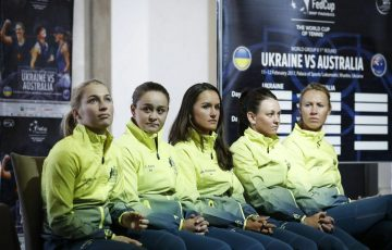 (L-R) Daria Gavrilova, Ash Barty, Arina Rodionova, Casey Dellacqua and Alicia Molik at the Australia v Ukraine Fed Cup draw ceremony.
