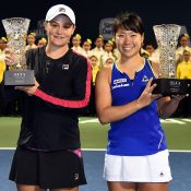 Barty beat Hibino 6-3 6-2 in a rain-delayed final. Photo: Getty Images