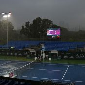 Rain disrupted play for nearly two hours during the singles final. Photo: Getty Images