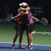 Barty and Dellacqua celebrate their win. Photo: Getty Images
