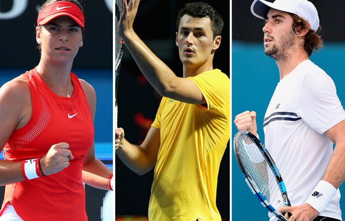 (L-R) Ajla Tomljanovic, Bernard Tomic and Jordan Thompson will play their first round matches at Indian Wells on Thursday; Getty Images