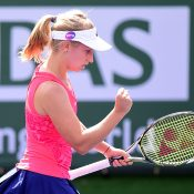 Daria Gavrilova was pumped up during her straight-sets win over Yanina Wickmayer in the second round of the 2017 BNP Paribas Open; Getty Images