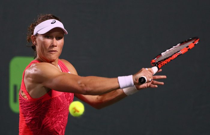 Sam Stosur's winning run in Miami is over, losing in three sets to Romanian Simona Halep; Getty Images