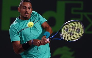 Nick Kyrgios lines up a backhand in his fourth round win over David Goffin at the Miami Open; Getty Images
