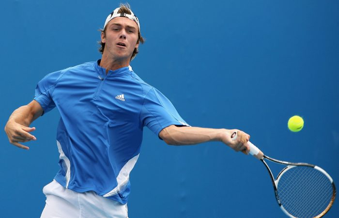 MELBOURNE, AUSTRALIA - JANUARY 21:  Dayne Kelly of Australia plays a forehand during his junior boys match against Xander Spong of the Netherlands on day eight of the Australian Open 2008 at Melbourne Park on January 21, 2008 in Melbourne, Australia.  (Photo by Robert Prezioso/Getty Images)