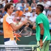 Nick Kyrgios (R) beat Alexander Zverev in the third round; Getty Images