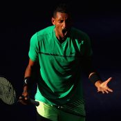 Nick Kyrgios was pumped up against Novak Djokovic in the fourth round; Getty Images