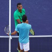 Nick Kyrgios (top) for the second time in two weeks beat world No.2 Novak Djokovic; Getty Images