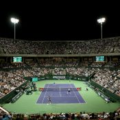 A huge crowd packed into Stadium 2 at Indian Wells to watch Bob & Mike Bryan take on Nick Kyrgios & Nenad Zimonjic; Getty Images