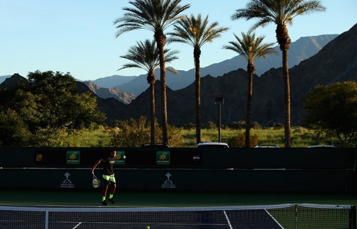 Nick Kyrgios practices with the magnificent Indian Wells scenery as a backdrop; Getty Images