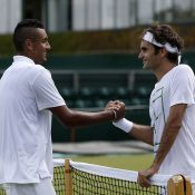 Nick Kyrgios (L) and Roger Federer; Getty Images