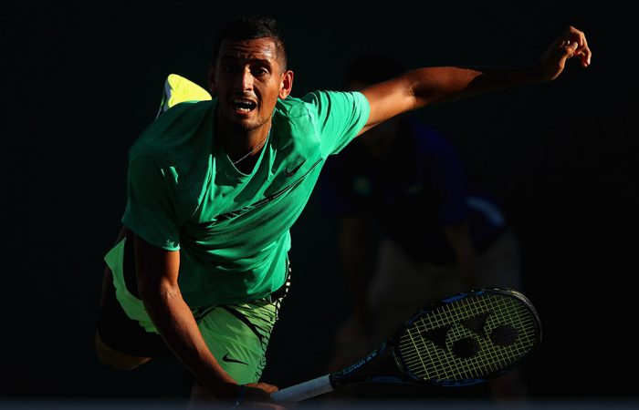 Nick Kyrgios slams down a serve at the 2017 BNP Paribas Open; Getty Images