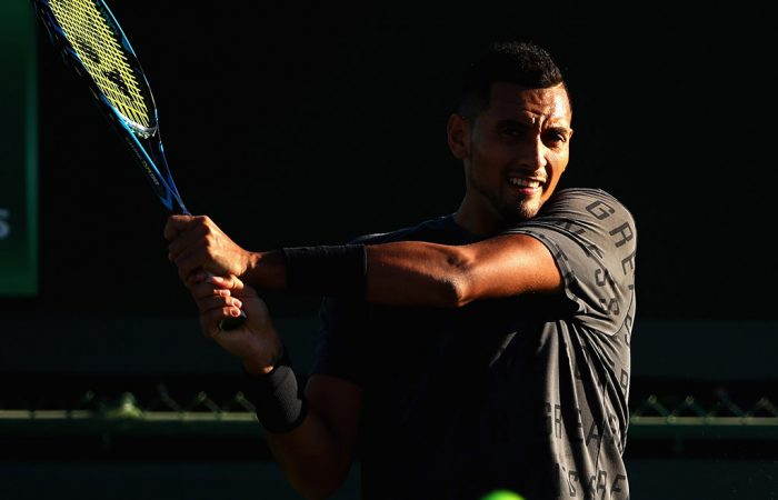 Nick Kyrgios trains at Indian Wells ahead of the 2017 BNP Paribas Open; Getty Images