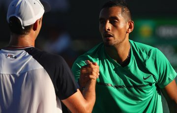 Nick Kyrgios shakes hands with Horacio Zeballos after defeating the Argentine in the second round of the BNP Paribas Open; Getty Images