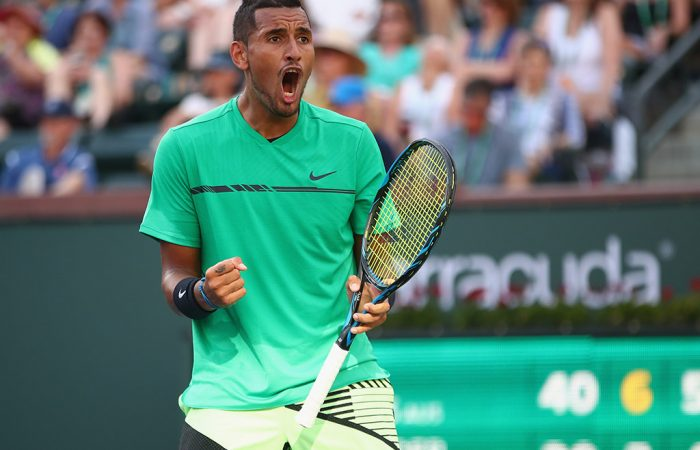Nick Kyrgios was pumped up during his third-round win over Alexander Zverev at the BNP Paribas Open; Getty Images