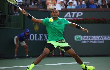 Nick Kyrgios in action at the 2017 BNP Paribas Open; Getty Images