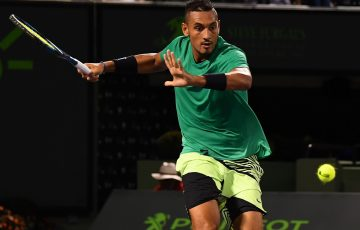 IMPRESSIVE WIN: Nick Kyrgios lines up a forehand in his Miami Open quarterfinal win over Alexander Zverev; Getty Images